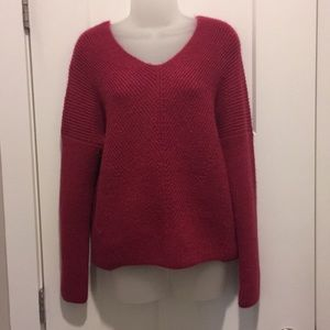 Long Sleeve Sweater, Size-XS , V-Neckline, Fusia